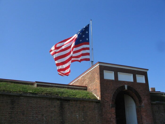 the flying flag at Fort McHenry in Baltimore, MD
