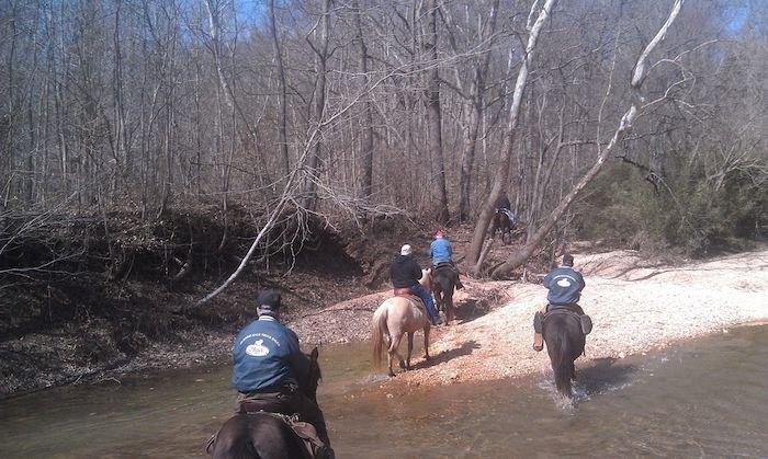people on horseback on Godwin Trail in Illinois