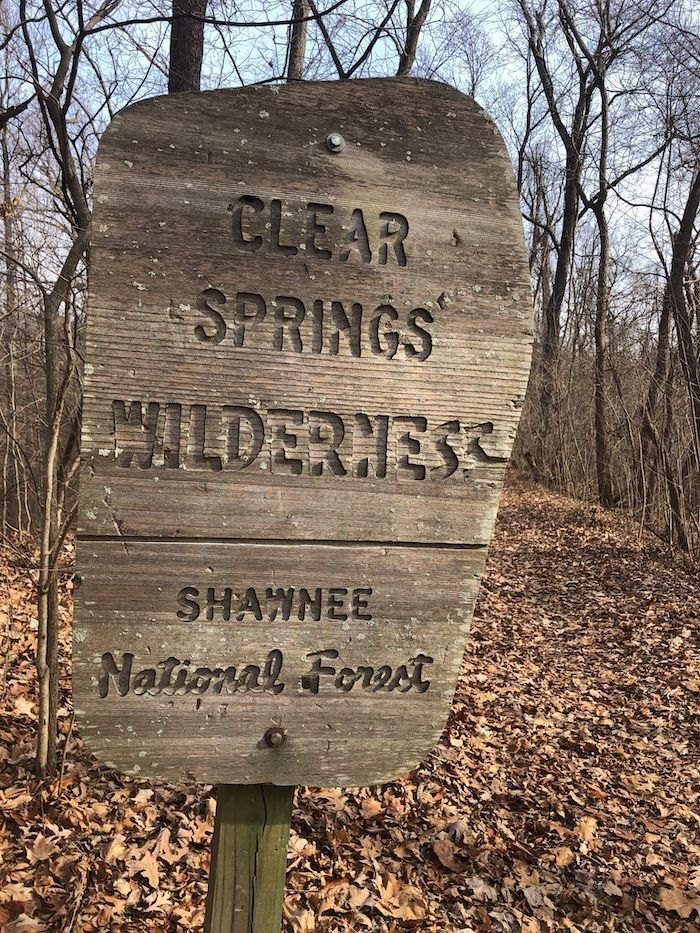 sign for Shawnee National Forest on Godwin Trail in Illinois