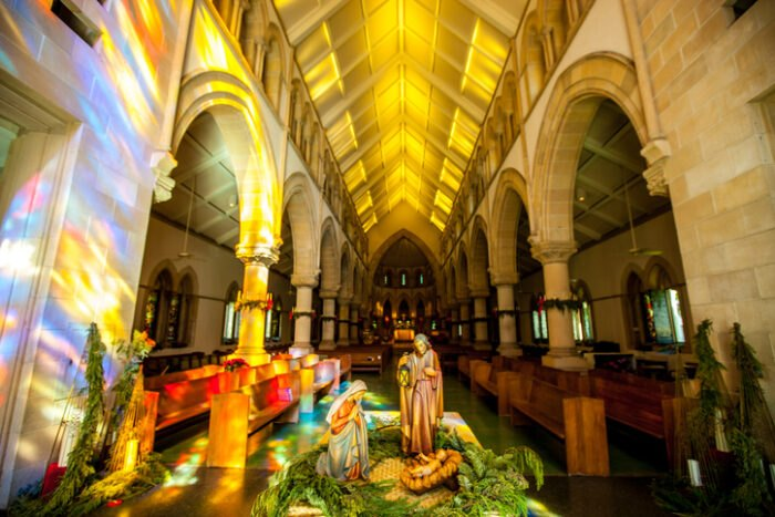 light shining in the Cathedral of St. Andrew in Hawaii