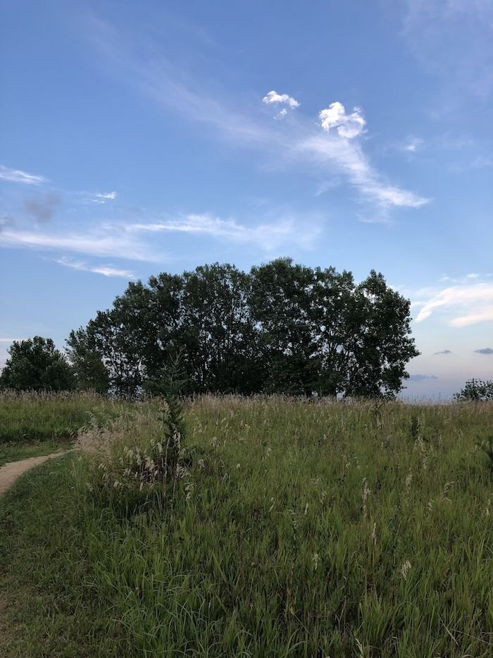 blue sky on Tranquility Trail in Nebraska