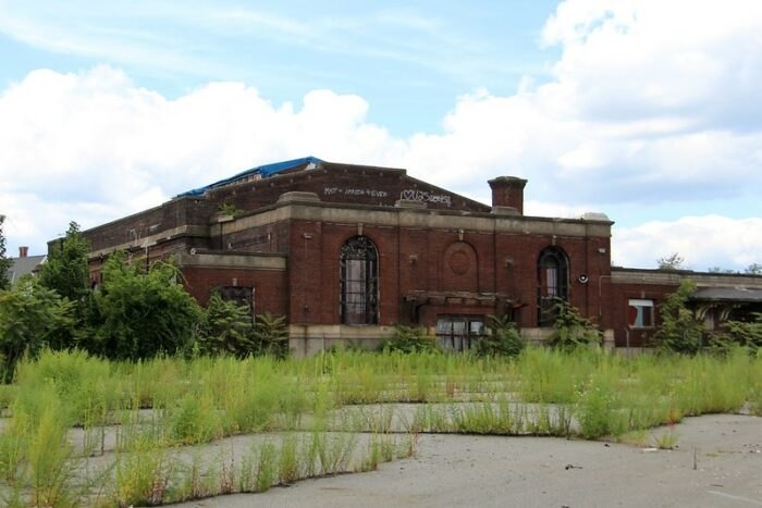 overgrown grass at the Pawtucket-Central Falls Railway Station in Rhode Island
