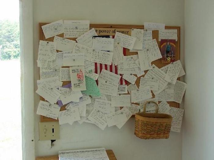 prayer request board in The Healing Chapel in Ohio
