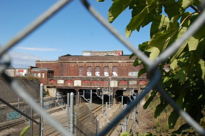 an artsy view of the Pawtucket-Central Falls Railway Station in Rhode Island