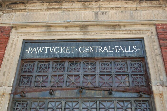 the Pawtucket-Central Falls Railway Sign in Rhode Island
