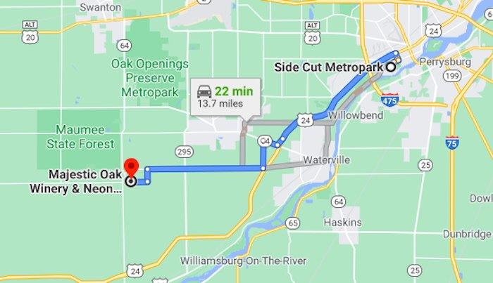 Google Map screenshot of distance between locations