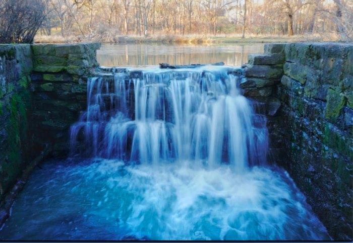rushing waters in Side Cut Metro Park in Ohio