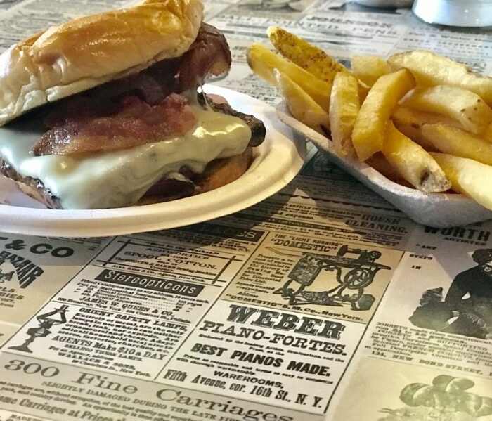 fries and a burger at Beef Barn in Rhode Island