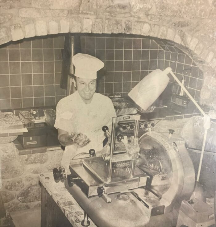 an old photo of the kitchen at Beef Barn in Rhode Island