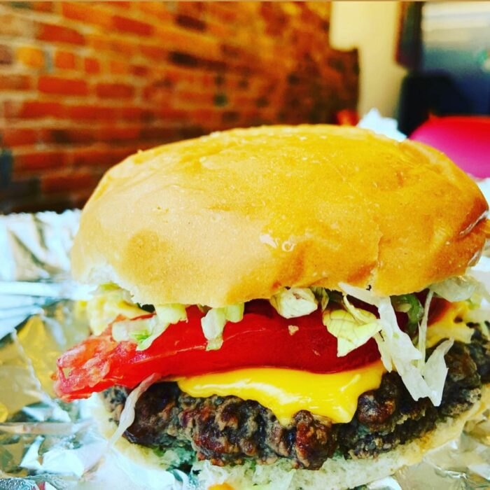 a burger at Miller's Creamery in Ohio