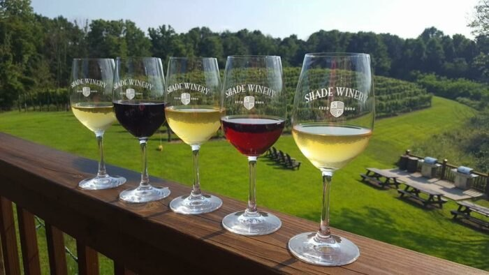 a variety of wine at Shade Winery in Ohio