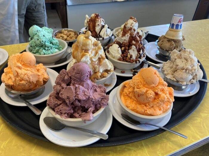 bowls of ice cream at Tom's Ice Cream Bowl in Ohio