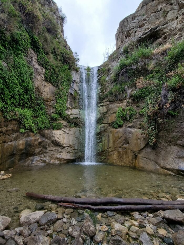 waterfall on Trail Canyon Falls in California