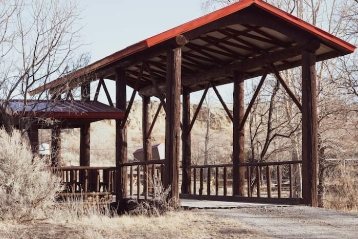 a covered bridge at Almosta Ranch Lodge in Wyoming