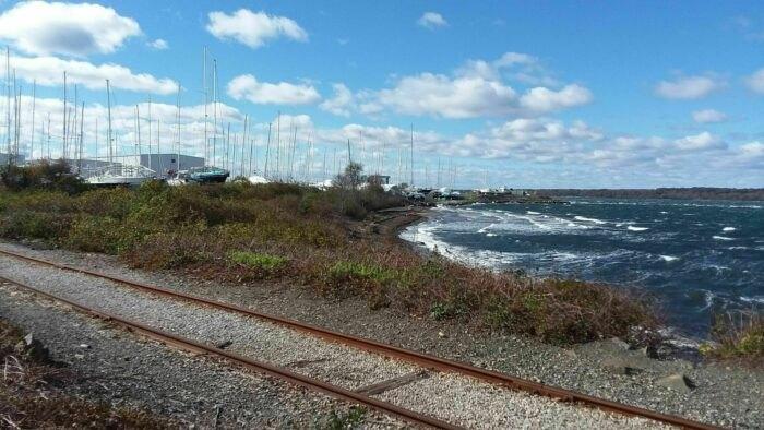 old railroad tracks on Melville Park Blue Trail