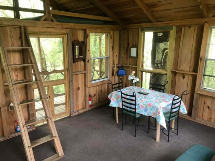 inside of treehouse in South Carolina