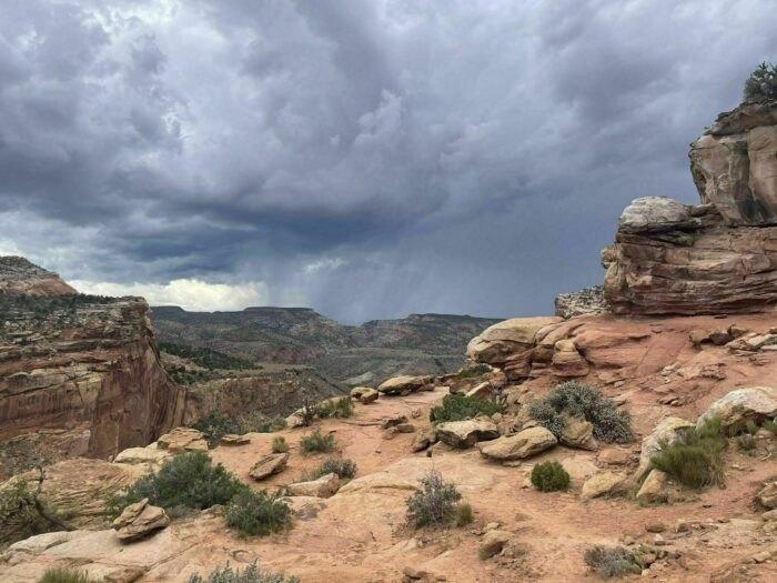 stormy clouds on Hickman Bridge Trail in Utah