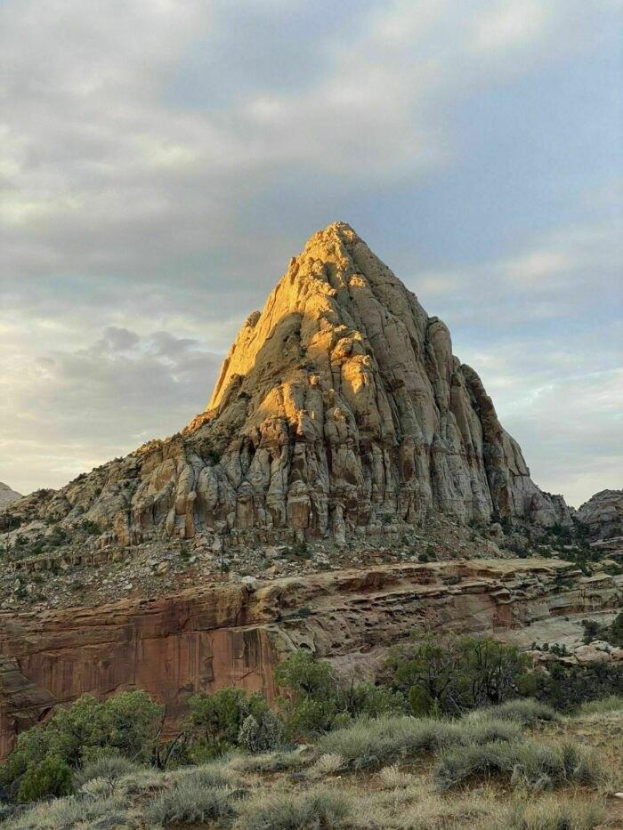 a mountain peak on Hickman Bridge Trail in Utah