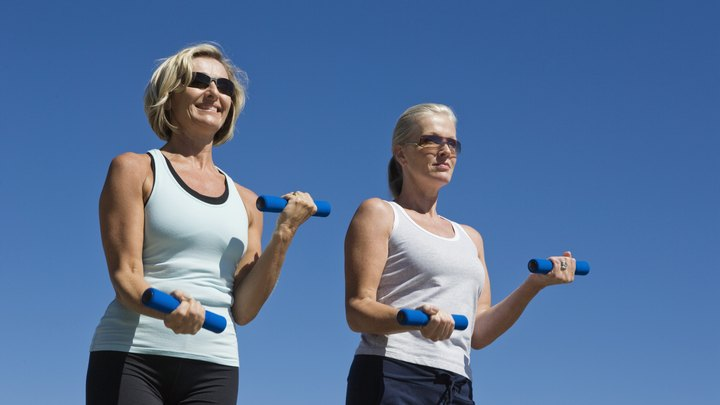 As you age, it may become more of a challenge to stay in shape. However, moderate exercise as you get older can help you stay looking and feeling good. To get or maintain firm arms as you age, try performing biceps and triceps exercises with your own body weight or light dumbbells.
