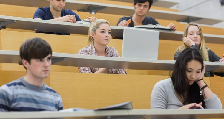Students listening to a lecture at college.