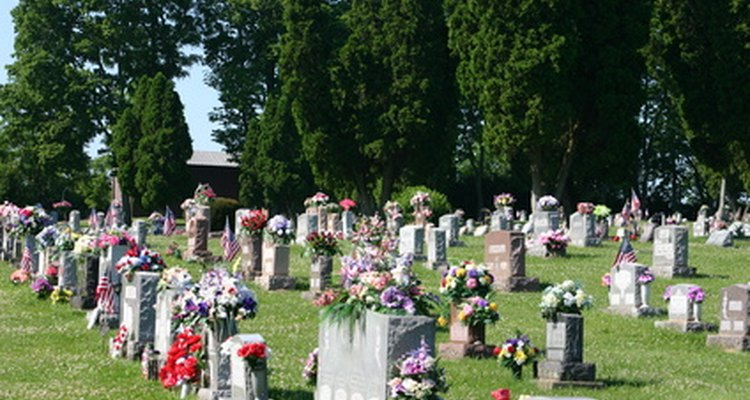 Flowers of all kinds can be found adorning headstones.