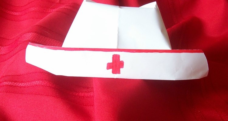 An old-fashioned nurse's hat is simple to fold from paper.