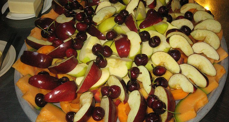 Cantaloupe, apples and cherries.