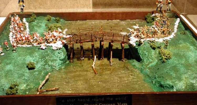 Miniature diorama of the Battle of Lexington and Concord, the American Revolutionary War (1775)