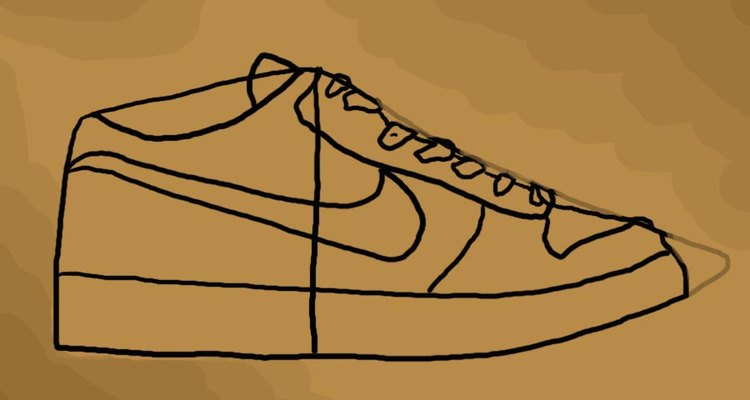 The frame of the shoe with the laces drawn on.