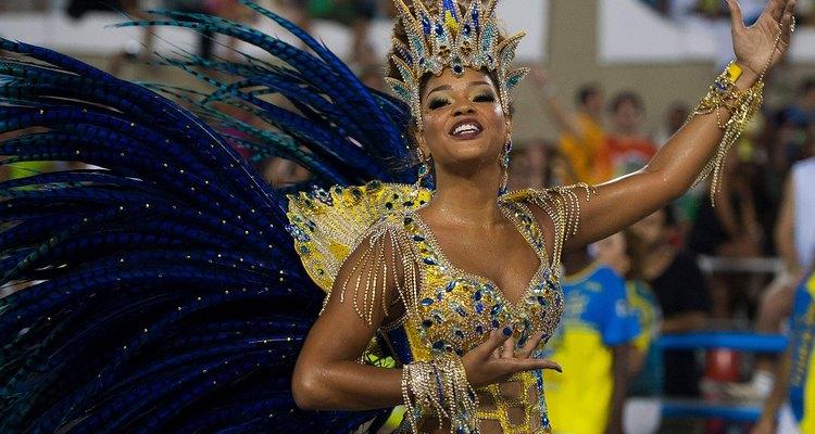 The samba is often danced solo in Brazil by heavily festooned dancers.