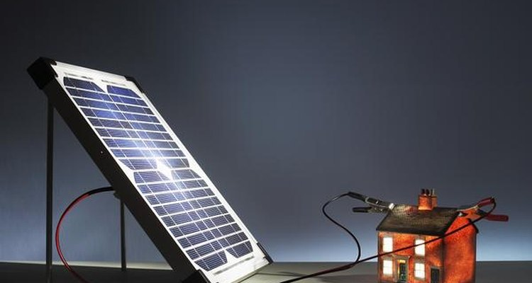 Photovoltaic panels (seen here placed on a roof) capture radiant energy from the sun and convert it into electricity.