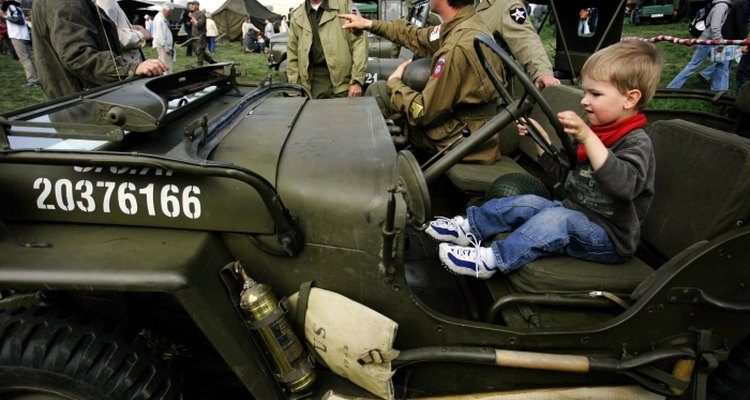 Military jeeps were mass-produced for World War II.