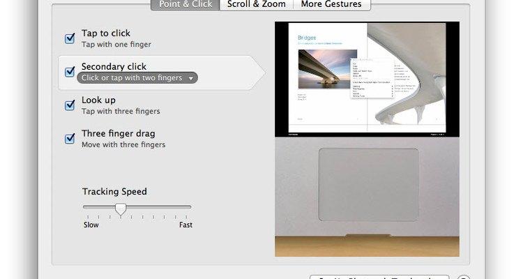 O painel oferece uma referência de vídeo para os vários cliques e gestos modificáveis