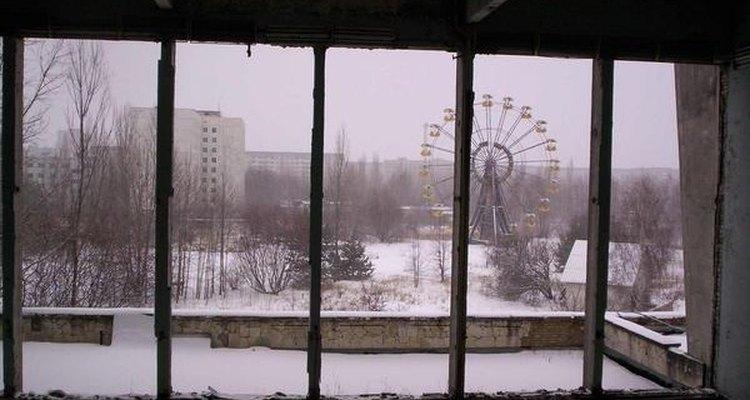 Vista de un ventanal de Pripíat.