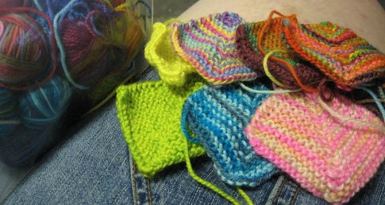Sew knitted squares together in columns before rows for best results.