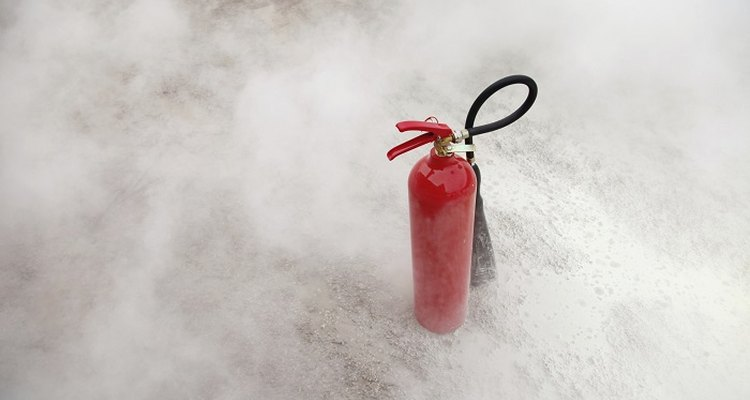 Fire extinguishers should be checked regularly for signs of damage.