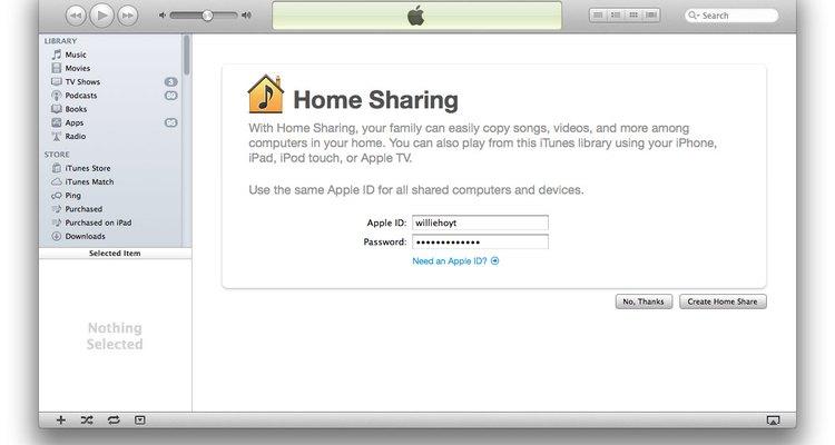 Seu Mac pode compartilhar sua biblioteca do iTunes com outros Macs, PCs com Windows ou dispositivos iOS na sua rede local