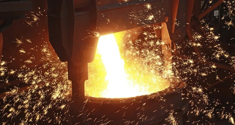 A graphite crucible will withstand the heat of molten metals.
