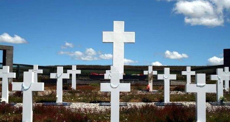 Cementerio argentino en islas Malvinas.