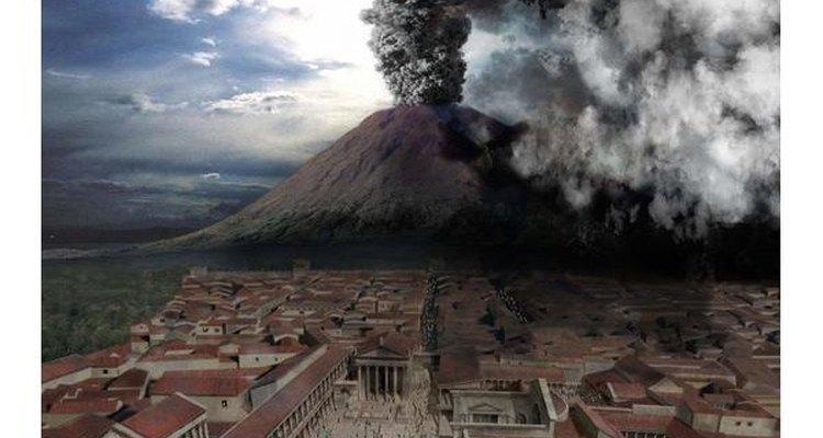 El volcán Vesuvio haciendo erupción.