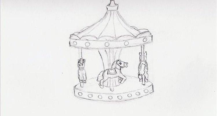 Desenhe formas ovais para os olhos dos cavalos, e uma crina e cauda volumosa