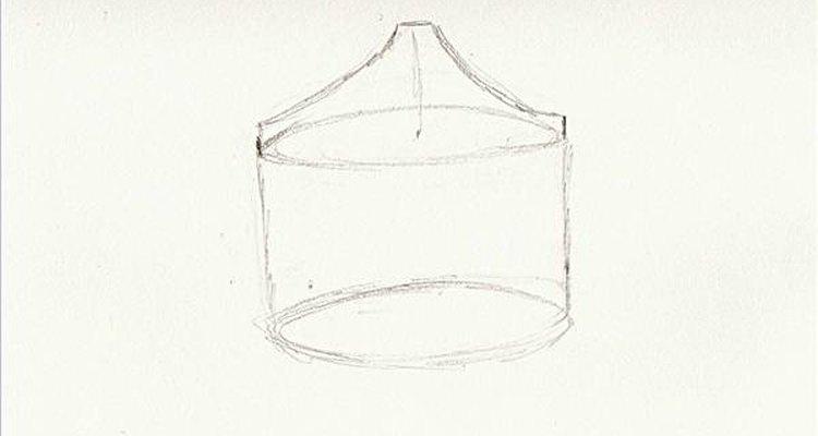 Desenhe um pequeno cone na parte superior da lata