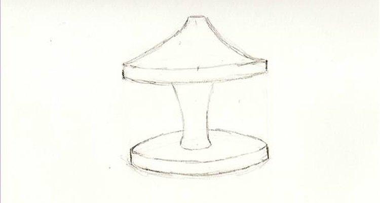 Encontre o centro da parte inferior e desenhe a coluna do carrossel em cima dele
