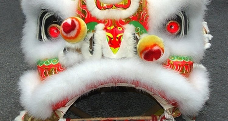 Las máscaras de león chinas son usadas en las celebraciones del Año Nuevo Chino.