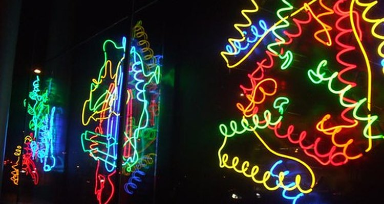 Mesh of long, curvy lights similar to polymer chain tangle