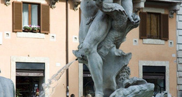 Uma estátua de Bernini localizada na Fontana del Moro, na Piazza Navona em Roma
