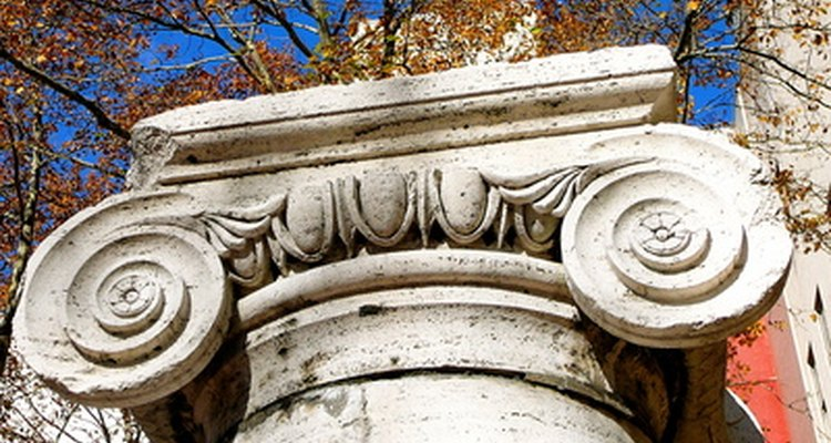 Ionic columns feature spiral scrolls called volutes.