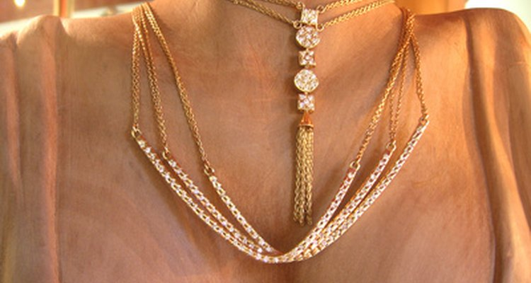 Gold jewellery can discolour from the metals found in some cosmetics.