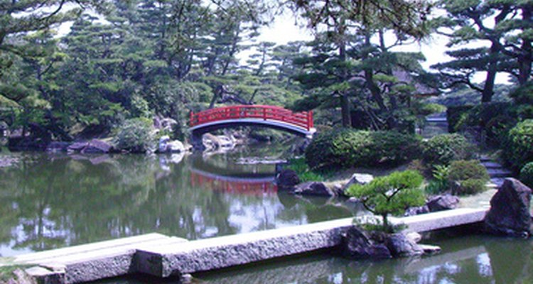 Japanese gardens use symbolism and specific design principles.