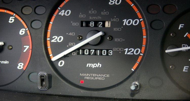 The odometer tracks the miles that a car has driven.